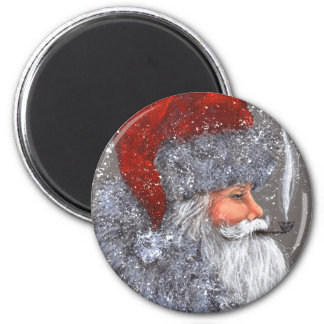 SANTA WITH A PIPE 6 CM ROUND MAGNET