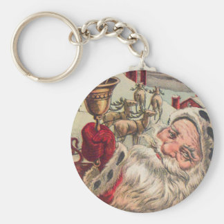 Santa with Bell and Holly Basic Round Button Key Ring
