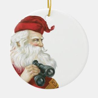 Santa with binoculars round ceramic decoration