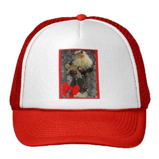 Santa with Border and Bow Mesh Hat