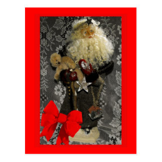 Santa with Border and Bow Postcard
