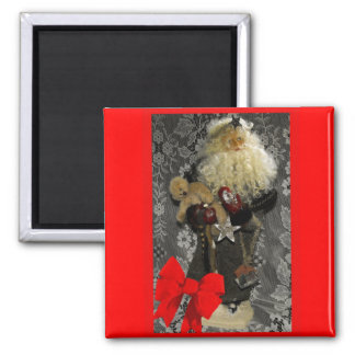 Santa with Border and Bow Square Magnet