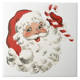 Santa With Candy Cane Tile