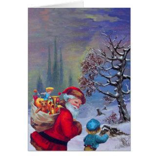 SANTA WITH CHILD IN THE WINTER SNOW GREETING CARD