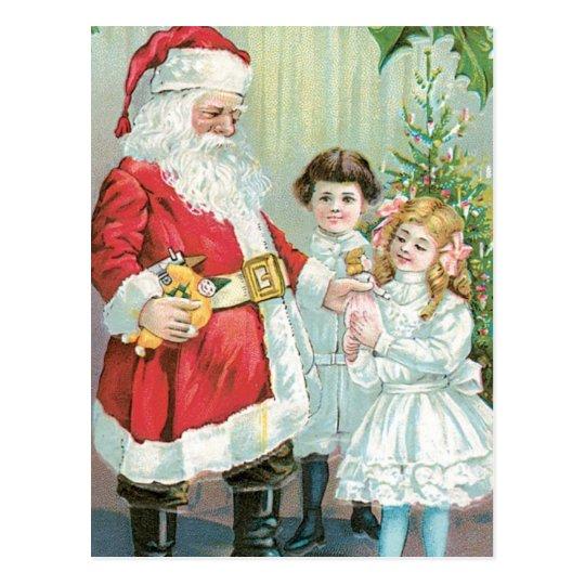 Santa With Children Postcard