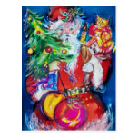 SANTA WITH CHRISTMAS TREE AND GIFTS POSTCARDS