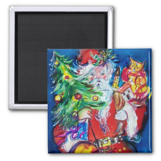 SANTA WITH CHRISTMAS TREE AND GIFTS SQUARE MAGNET