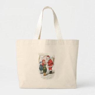 Santa with Christmas Wish List Canvas Bags
