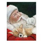 Santa with Corgi Dog Art Christmas Postcard