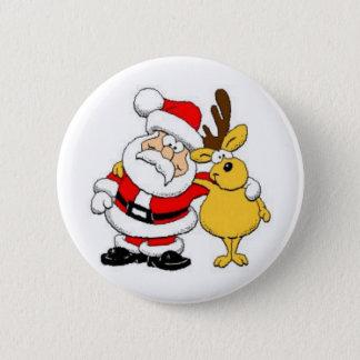 Santa With Deer 6 Cm Round Badge