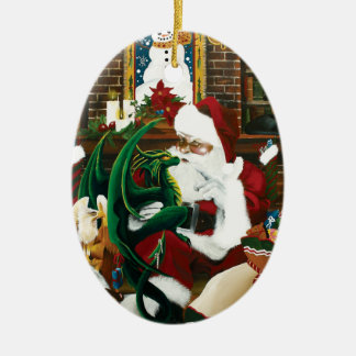 santa with dragon friend christmas ornament