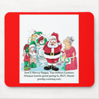 Santa with elves after eating too many cookies mouse pad