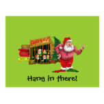 Santa with elves for rent postcard