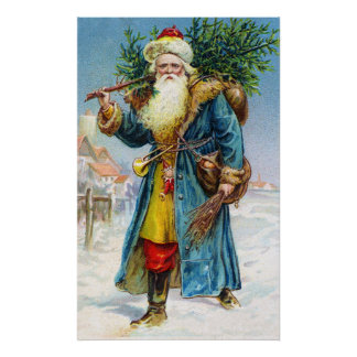 Santa with Fir Tree Poster