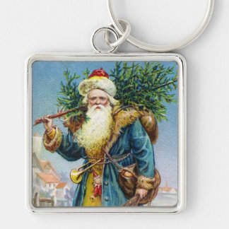 Santa with Fir Tree Silver-Colored Square Key Ring