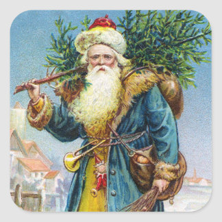 Santa with Fir Tree Square Sticker