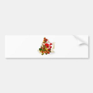 Santa with gifts list bumper sticker