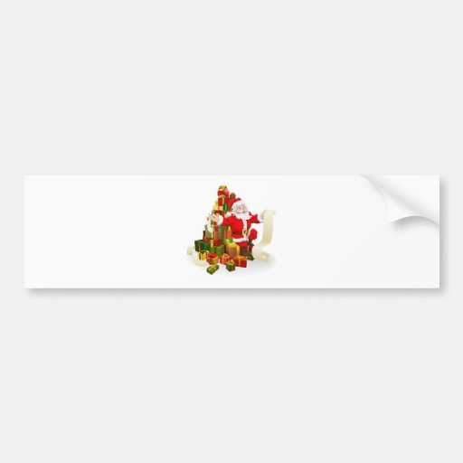 Santa with gifts list bumper sticker