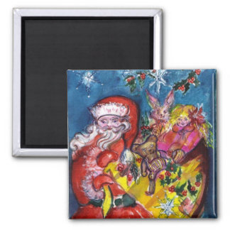 SANTA WITH GIFTS SQUARE MAGNET