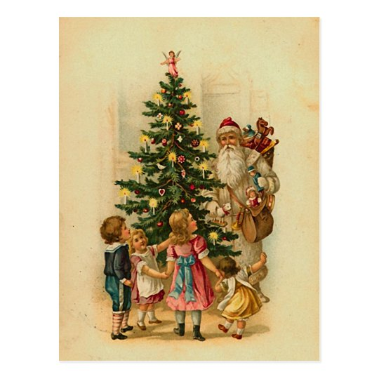 Santa with gifts -vintage christmas greeting card