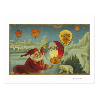 Santa With Happiness Baloon Postcards
