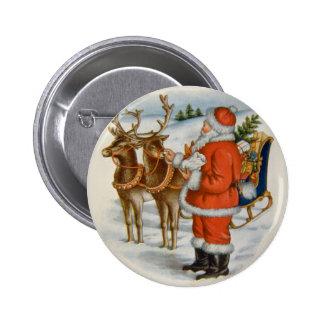 Santa With His Reindeer Pinback Button