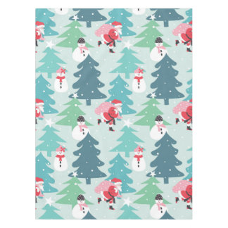 Santa With His Sack And Snow People Tablecloth