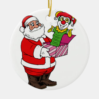Santa with jack in the box christmas ornament