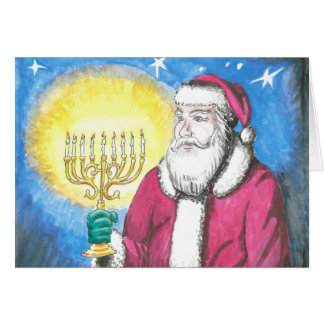 Santa with Menorah Greeting Card