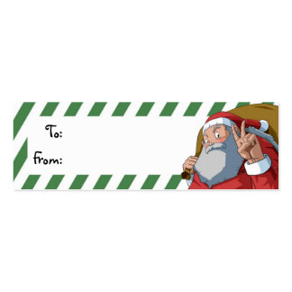 Santa with Peace Sign Christmas Gift Tag Pack Of Skinny Business Cards