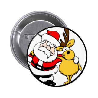 Santa with Reindeer 6 Cm Round Badge