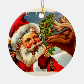 Santa with Reindeer Double-Sided Ceramic Round Christmas Ornament