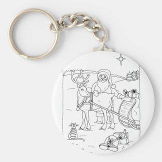 Santa With Reindeer Key Ring