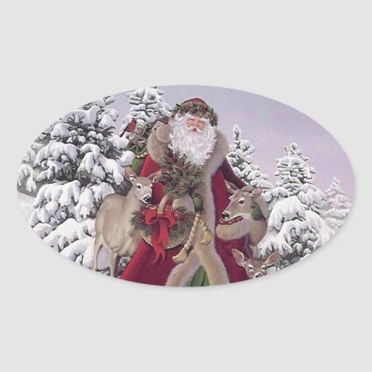Santa with Reindeer Oval Sticker