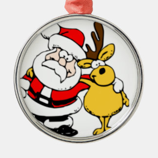 Santa with Reindeer Silver-Colored Round Decoration