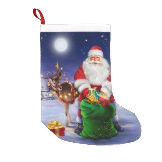 Santa with Reindeer Small Christmas Stocking