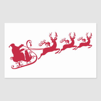 Santa with sleigh and reindeer,  Christmas design Rectangular Sticker