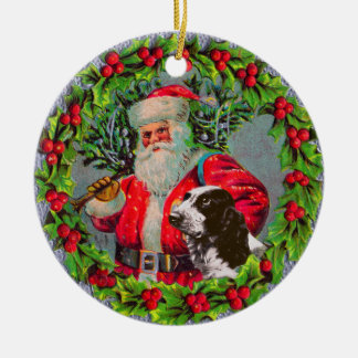 Santa with Springer Spaniel Ornament