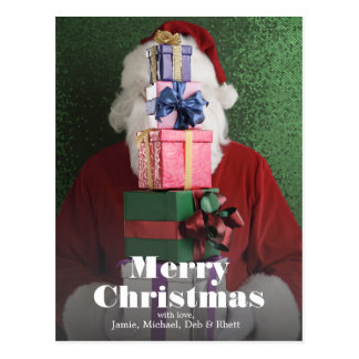 Santa with stack of gifts postcard