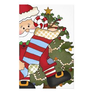 Santa with Stocking- Christmas Tree Stationery Paper