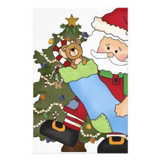 Santa with Stocking- tree bear Personalized Stationery