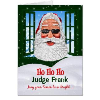 Santa with Sunglasses Christmas Custom Front Text Card