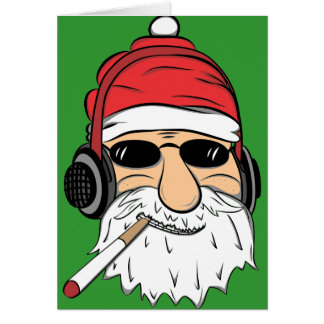 Santa With Sunglasses Cigarette and Headphones Card