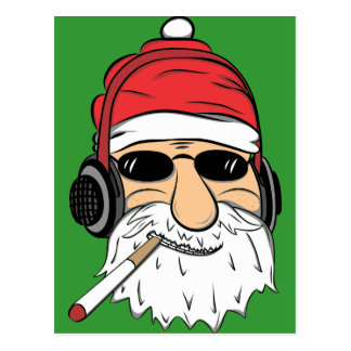 Santa With Sunglasses Cigarette and Headphones Postcard