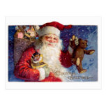 Santa with Teddy and Krampus in a Box Post Cards