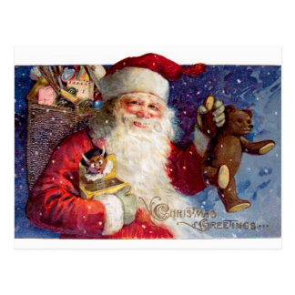 Santa with Teddy and Krampus in a Box Postcard