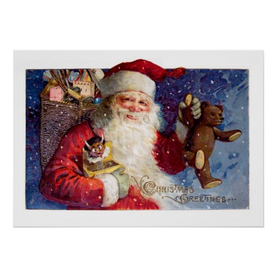 Santa with Teddy and Krampus in a Box Poster