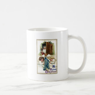 Santa with Toys for Sleeping Girls Vintage Xmas Coffee Mug