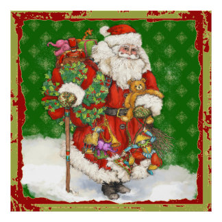 Santa with Toys Poster