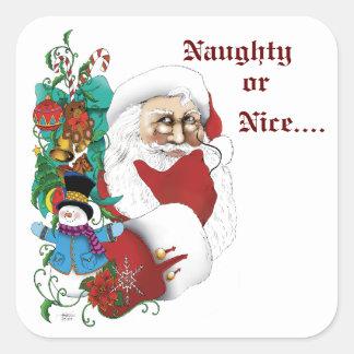 Santa with toys square sticker
